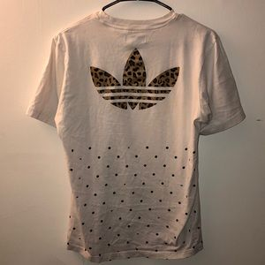 Rare Adidas Tee with Leopard Print Logo
